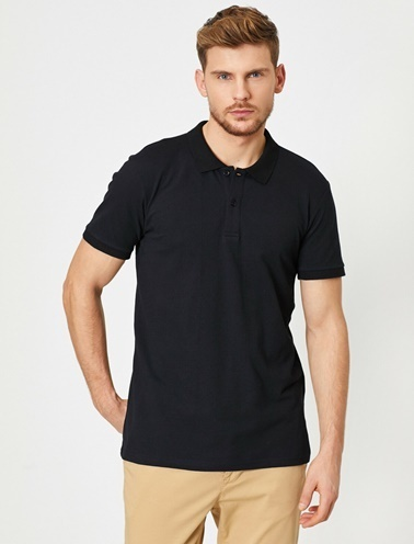 Koton Polo Yaka Kisa Kollu Slim Fit Basic T-Shirt Siyah